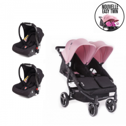 Poussette Double Baby Monsters - Easy Twin 3S Light + 2 Coques
