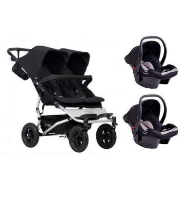 Pack Duo Mountain Buggy Poussette Double Duet V.3 + 2 Coques