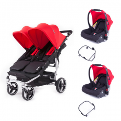 Poussette Baby Monsters Easy Twin 3S Light - Rouge (Ch. Silver)