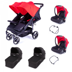 Poussette Baby Monsters Easy Twin 3S Light - Rouge (Ch. Noir) +