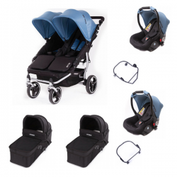 Poussette Baby Monsters Easy Twin 3S Light + 2 Coques Luna + 2
