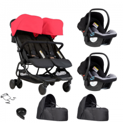 Poussette Double Mountain Buggy Nano Duo - Ruby + 2 Cocoon V2 +